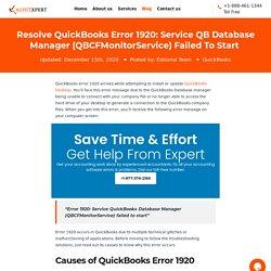 QuickBooks Error 1920: Easy Solutions To Fix