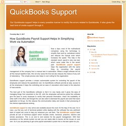 How QuickBooks Payroll Support Helps In Simplifying Work via Automation