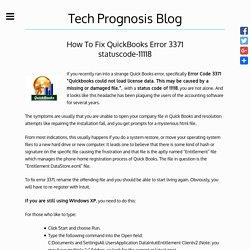 How To Fix QuickBooks Error 3371 statuscode-11118 - Tech Prognosis