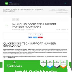 Intuit QUICKBOOKS TECH SUPPORT NUMBER 18009450645
