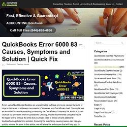 quickbooks Error 6000 83 - Causes, Symptoms and Solution