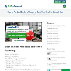 QuickBooks Is Unable to Send Your Email to Outlook Error