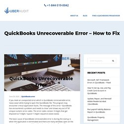 QuickBooks Unrecoverable Error - How to Fix