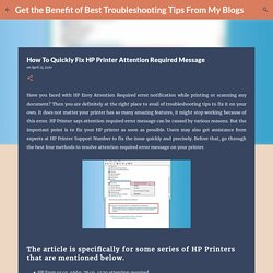 How To Quickly Fix HP Printer Attention Required Message