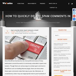 How to Quickly Delete Spam Comments in Bulk?