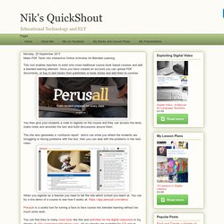 Nik's QuickShout: Make PDF Texts into Interactive Online Activities for Blended Learning