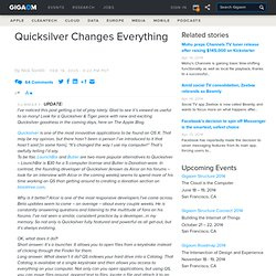 Quicksilver Changes Everything at The Apple Blog