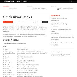 Quicksilver Tricks