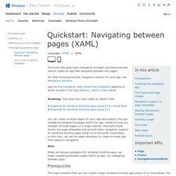 Quickstart: Navigating between pages (XAML)