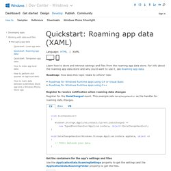Quickstart: Roaming app data (XAML)