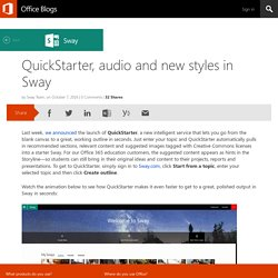 QuickStarter, audio and new styles in Sway