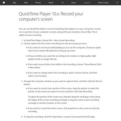 QuickTime Player 10.x: Record your computer's screen