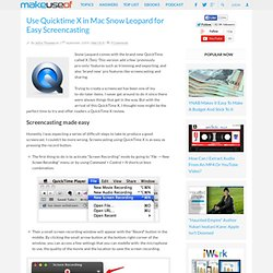 How to screencast using Quicktime X in Mac Snow Leopard