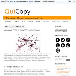 QuiCopy : Quando il content marketing non funziona