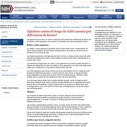 ¿Quiénes corren el riesgo de sufrir anemia por deficiencia de hierro? - NHLBI, NIH