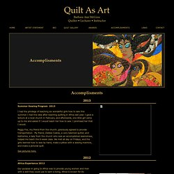 Quilt As Art - Accomplishments