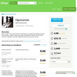 Olga Quintela - Web Researcher - oDesk Freelancer from Coimbra, Portugal