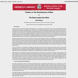Treatise on The Quintessence of Wine - Vol. 2 No. 3 - Caduceus: The Hermetic Quarterly