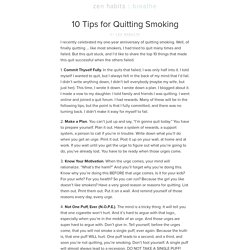 10 Tips for Quitting Smoking | zen habits