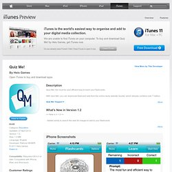 Quiz Me! for iPhone, iPod touch and iPad on the iTunes App Store