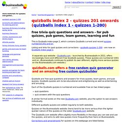 Quizballs free questions and answers for pub quizzes, trivia quizzes, learning and fun.