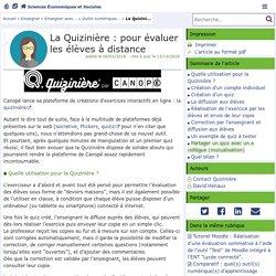 La Quizinière : pour évaluer les élèves à distance - Sciences Économiques et Sociales