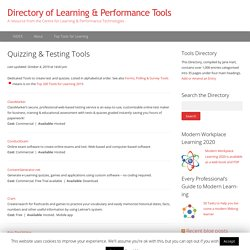 Quizzing & Testing Tools – Directory of Learning & Performance Tools