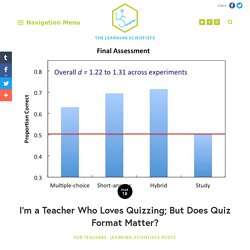 I'm a Teacher Who Loves Quizzing; But Does Quiz Format Matter? — The Learning Scientists