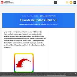 Quoi de neuf dans Rails 5.1