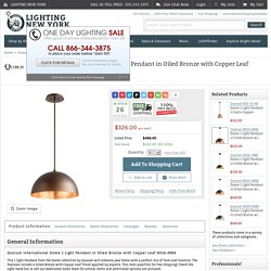Quorum International Dome 1 Light Pendant in Oiled Bronze with Copper Leaf 8016-4986