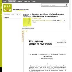 La presse quotidienne et l'affaire Dreyfus en 1898-1899. Essai de typologie