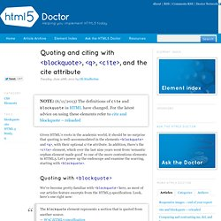 Quoting and citing with <blockquote>, <q>, <cite>, and the cite attribute