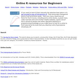 R Resources for Beginners