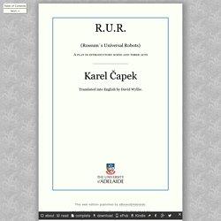 R.U.R., by Karel Capek