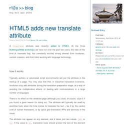 blog » HTML5 adds new translate attribute
