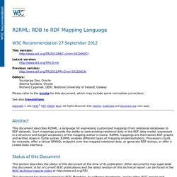 R2RML: RDB to RDF Mapping Language