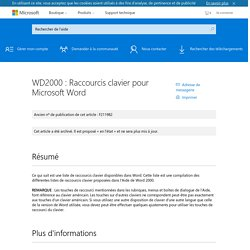 WD2000 : Raccourcis clavier pour Microsoft Word