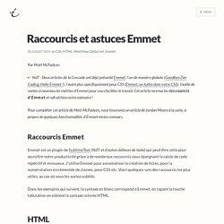 Raccourcis et astuces Emmet