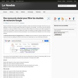 Des raccourcis clavier pour filtrer les résultats de recherche Google