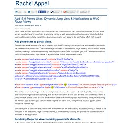 Add IE 9 Pinned Sites, Dynamic Jump Lists & Notifications to MVC Razor Views-Rachel Appel