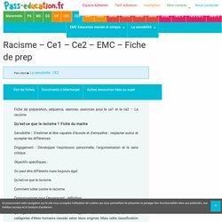 Racisme - Ce1 - Ce2 - EMC - Fiche de préparation