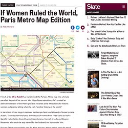 Silvia Radelli reimagines Paris Metro map, naming stations after Susan Sontag, Jane Austen, and Helen Keller.