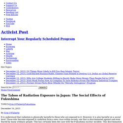 The Taboo of Radiation Exposure in Japan: The Social Effects of Fukushima