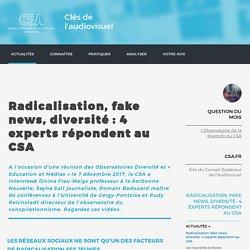 Radicalisation, fake news, diversité : 4 experts répondent au CSA / Actualités / Accueil / Clés de l'audiovisuel / Accueil