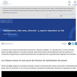Radicalisation, fake news, diversité : 4 experts répondent au CSA - CSA - Conseil supérieur de l'audiovisuel