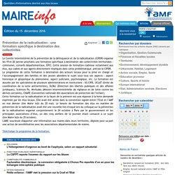 19-20 janvier 2017 - Prévention de la radicalisation : une formation spécifique à destination des collectivités- Maire-info / AMF