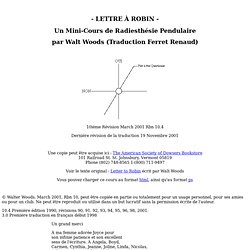 Un Mini-Cours de Radiesthésie Pendulaire - Lettre à Robin -