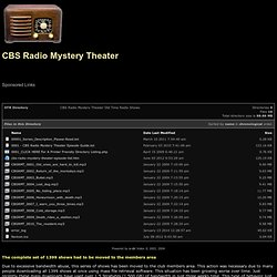 CBS Radio Mystery Theater Old Time Radio Shows