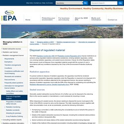 Disposal of radioactive substances - Information for owners