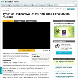 Types of Radioactive Decay and Their Effect on the Nucleus Video - Lesson and Example